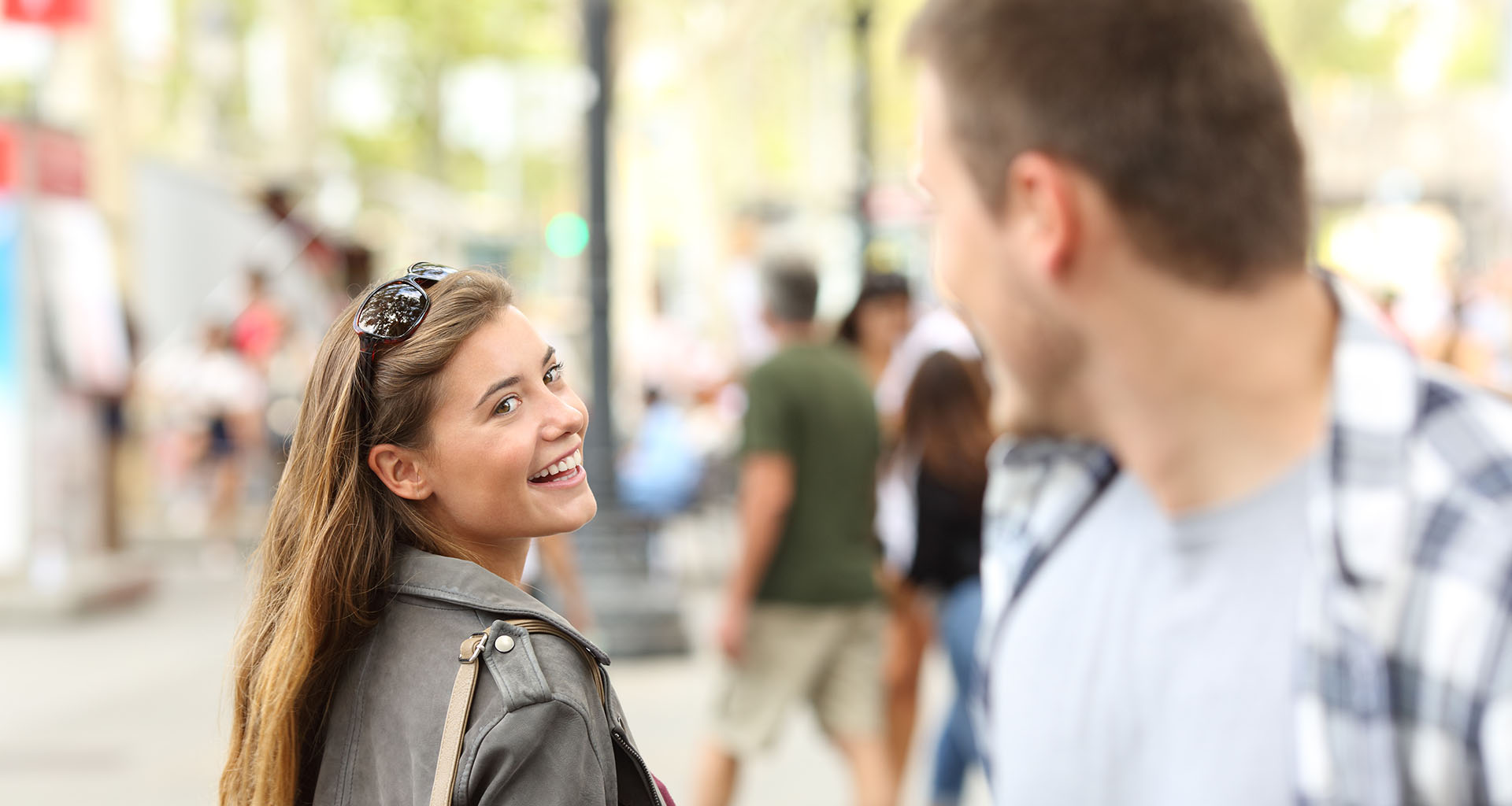 interested woman flirts with man